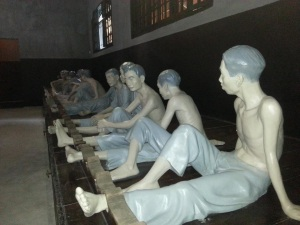 Wax statues of Vietnamese prisoners at the War Crimes Museum