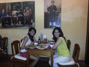 Parvati and me at a restaurant in Vietnam