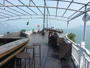Just a regular morning breakfast view at the yatch in Halong Bay