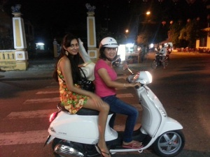 Parvati and her favourite mode of transport in Vietnam